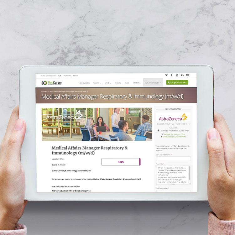 Stellenanzeige von AstraZeneca auf MedCareer.eu