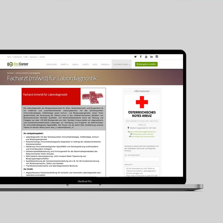 Stellenanzeige des Österreichischen Roten Kreuz auf MedCareer.eu